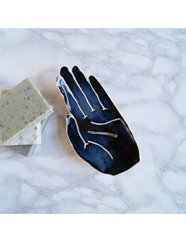 Palm Soap Dish Life Size Midnight Blue Glaze. Porcelain Soap Dish, Ceramic Hand Soap Dish, Bathroom Accessory, Palmistry by Etsy