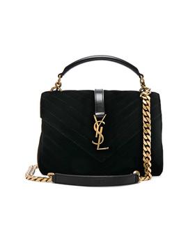 Medium Velvet Monogramme College Bag by Saint Laurent