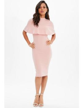 Pink Frill Overlay Midi Dress by Missguided