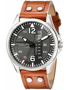 Stuhrling Original Men's 699.02 Aviator Quartz Day And Date Grey Dial Brown Leather Band Watch by Stuhrling Original