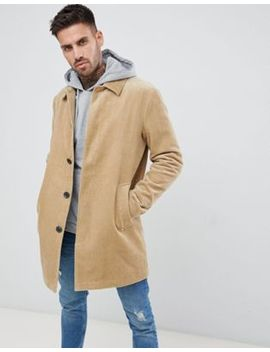 Asos Design Single Breasted Trench Coat In Cord In Stone by Asos Design
