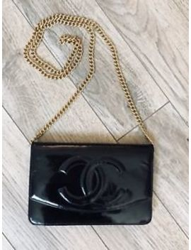 Chanel Black Patent Leather Cc Wallet On Chain Purse Woc by Chanel