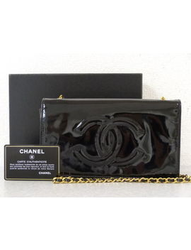 R4527 Auth Chanel Vintage Black Lambskin Leather Cc Turn Lock Chain Shoulder Bag by Chanel