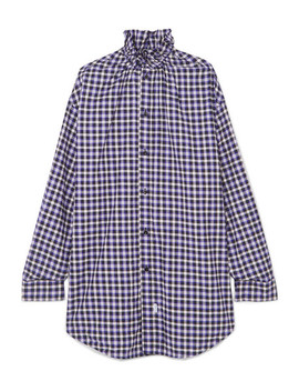 Oversized Checked Cotton Flannel Shirt by Balenciaga