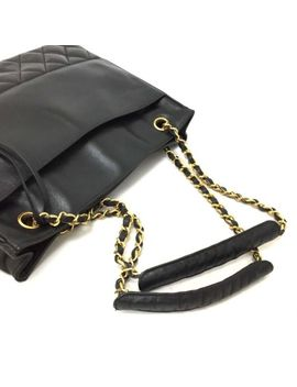 Chanel Quilted Matelasse Lambskin Cc Logo Chain Shoulder Tote Bag Black /D523 by Chanel