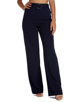 Chic O Ring Belted High Waist Pants by Windsor