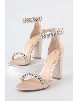 Mayra Champagne Satin Rhinestone Ankle Strap Heels by Jewel By Badgley Mischka