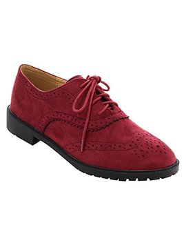 Forever Gd61 Women's Lace Up Low Chunky Heel Casual Oxford Shoes by Forever