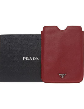 Dark Red Branded I Pad Cover by Prada