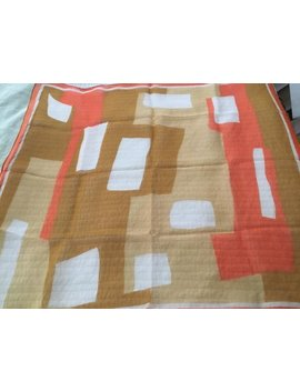 Vintage Wow Vera Silk Chiffon Scarf Geometric Abstract Mod Sheer Orange Taupe Tan Bold On Sale! by Etsy