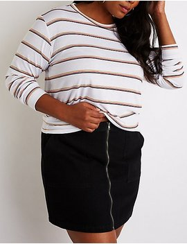 Plus Size Striped Crew Neck Top by Charlotte Russe