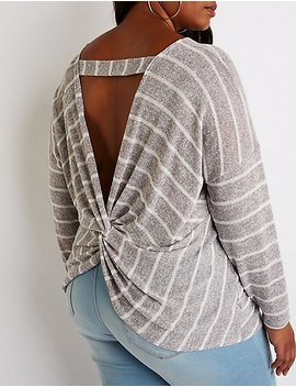 Plus Size Striped Twisted Back Pullover Sweater by Charlotte Russe