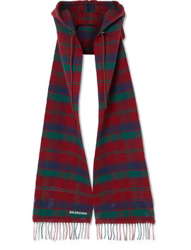 Fringed Tartan Wool Hooded Scarf by Balenciaga