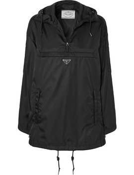 Hooded Leather Trimmed Shell Jacket by Prada