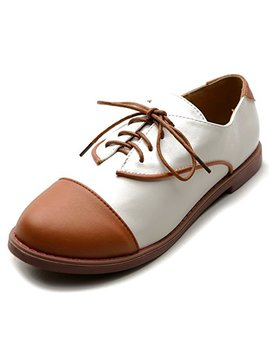 Ollio Women's Flat Shoe Lace Up Two Tone Oxford by Ollio