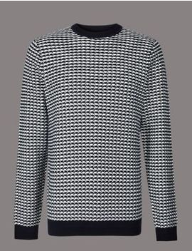 Pure Cotton Textured Slim Fit Jumper by Marks & Spencer