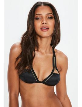 Black Zip Detail Satin Cut Out Soft Bra by Missguided