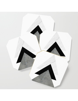 Arrows Monochrome Collage Coaster by