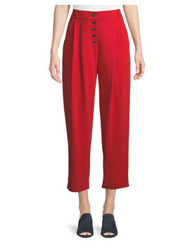 Russel Cropped Button Fly Crepe Pants by A.L.C.