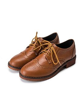 Meeshine Women's Perforated Lace Up Wingtip Flat Oxfords Vintage Oxford Shoes Brogues by Meeshine