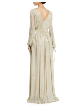 Christina Metallic Pleated Long Sleeve Wrap Gown by Zac Zac Posen