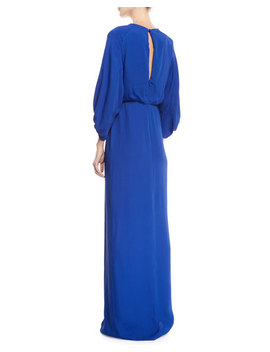 Full Sleeve Front Slit Crepe Column Evening Gown by Lela Rose