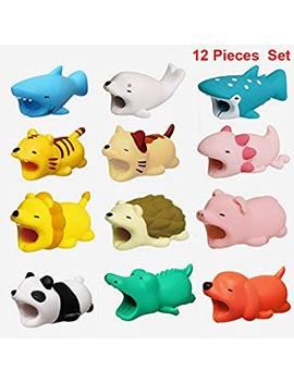 12 Pieces Cable Bites Cute Animal Cable Accessory For Phone Cables Protector (Dog + Shark + Crocodile +Wave Point Shark +Seal+Rabbit+ Tiger + Cat + Panda +Axolotl+ Hedgehog + Lion+Pig) by Jieyou