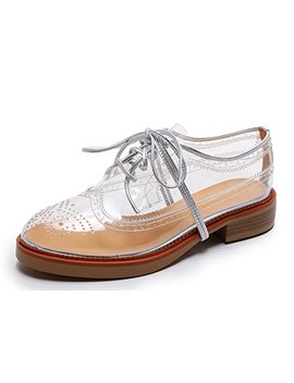 Women's Vegan Oxfords Transparent Clear Saddle Wingtip Shoes by Bruno Bianci