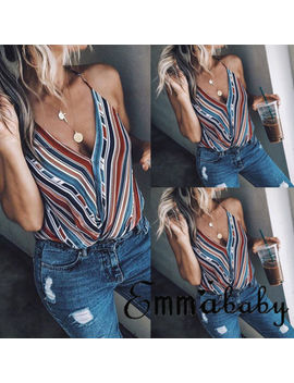 New Women Summer V Neck Vest Top Sleeveless Casual Tank Tops by Thefound