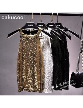 Cakucool Women Bead Tank Tops Shiny Sequin Vest Slim Bling Party Camis Halter Neck Gold Thread Lurex Sexy Tank Camisole Top Lady by Cakucool