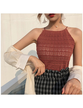 Women Slim Knitting Halter Neck Hollow Out Camisole Tops Female Crop Tanks Tops Sleeveless Solid T Shirts Tees by Daizhiyue