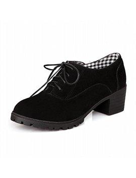 Latasa Women's Fashion Nubuck Chunky Low Heel Oxfords,Western Style by Latasa