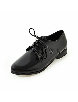 Hecater Women's Lace Up Wingtip Patent Leather Oxford Shoes by Hecater