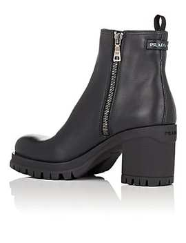 Lug Sole Leather Ankle Boots by Prada
