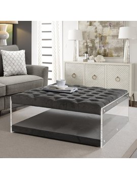 Alfred Grey Velvet Ottoman   Cocktail Coffee Table | Tufted | Acrylic Sides | Modern And Contemporary | By Inspired Home by Inspired Home