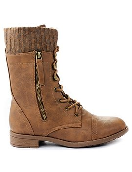 Women Justina58 Leatherette Sweater Cuff Lace Up Decorative Zipper Mid Calf Ankle Combat Boots by Jjf Shoes