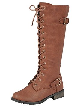 Forever Link Women's Strappy Lace Up Knee High Combat Stacked Heel Boot by Forever Link