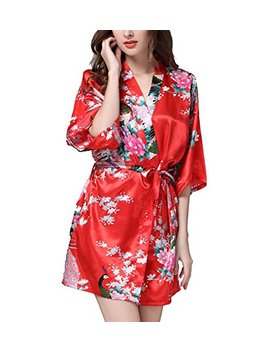 Hammia Women's Bridesmaid Robes Short Peacock Blossoms Kimono Robe Dressing Gown Floral Robes by Hammia