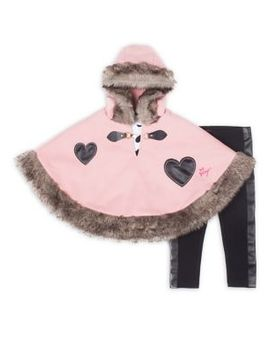 Baby Girl's Three Piece Faux Fur Heart Cape Set by Betsey Johnson