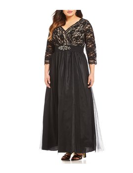 Plus Embellished Waist Lace Bodice Gown by Jessica Howard