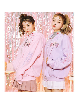 Women Korea Fashion Sweatshirt Cute Bunny Japan Harajuku Hooded Kawaii Zip Up Purple Pink Preppy Style Girl Cute Sweet Pullover by Adomoe