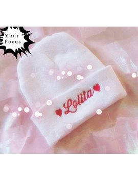 2018 New Fashion Harajuku Kawaii Sweet Lolita Dolly Nymph Bitchie And Love Embroidered Pink Wool Cap Winter Hat by Your Focus