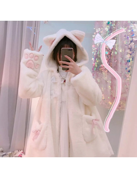 Women Winter Cartoon Fur Coats Japanese Kawaii Sweet Cat Paw Embroidery Faux Fur Soft Sister Long Warm Overcoat With Ears Hooded by Adomoe