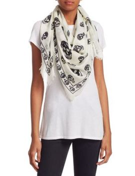 Ivory Skull Scarf by Alexander Mc Queen