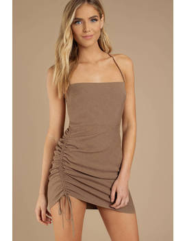 Mind Game Taupe Bodycon Dress by Tobi