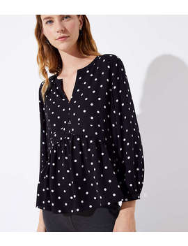 Dotted Peplum Blouse by Loft
