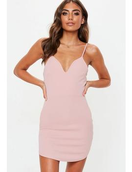Petite Pink Strappy Plunge Mini Dress by Missguided