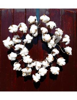 Faux Cotton Wreath Made Of Preserved Cotton Bolls Attached To Flexible Stems For That Rustic Farmhouse Home Decor In 12 14 Inch Diameter by Amazon