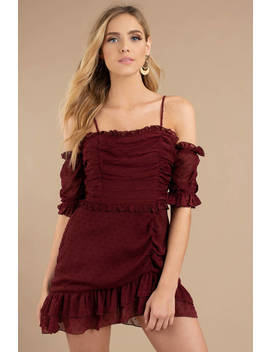 Just Met You Wine Mini Dress by Tobi