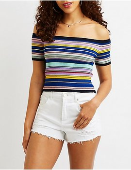 striped-ribbed-knit-off-the-shoulder-crop-top by charlotte-russe